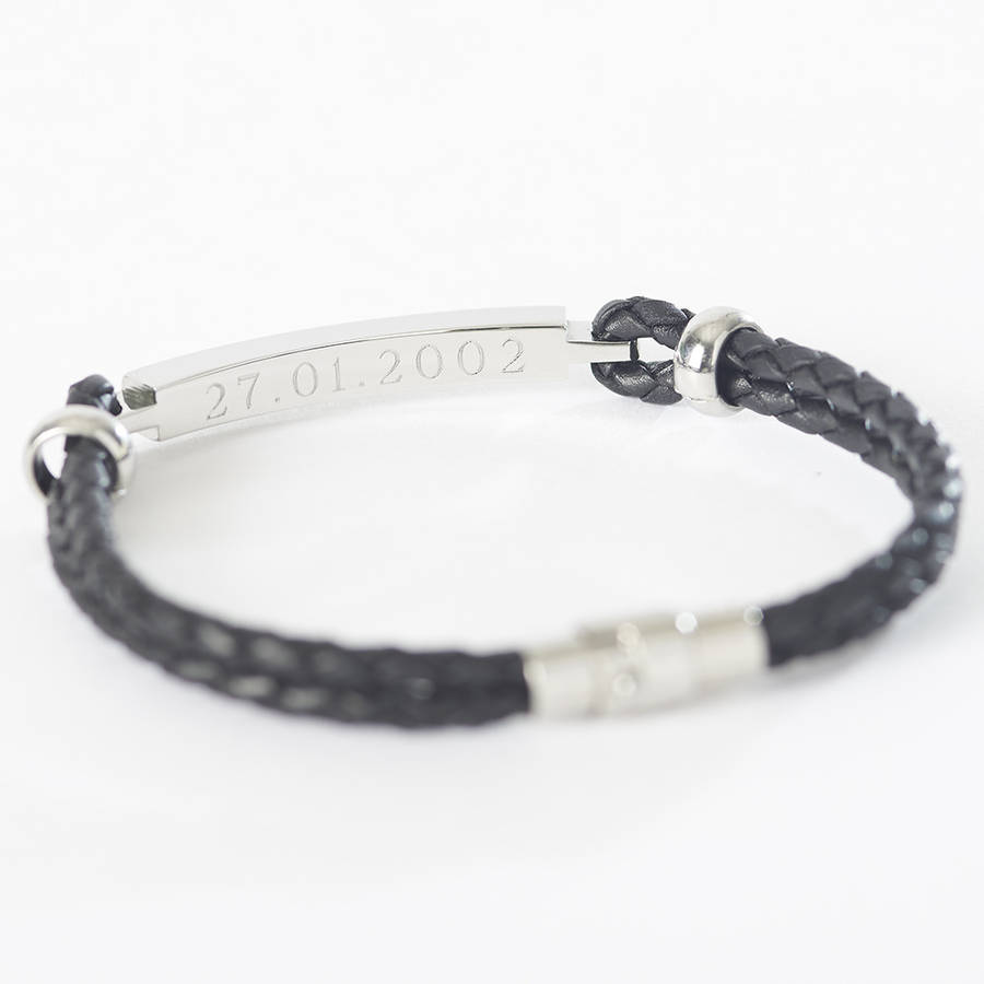 Mens Personalised Leather Ideny Bracelet