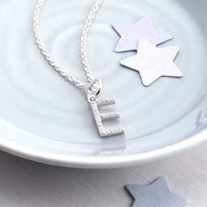 Personalised Silver And Pave Initial Charm Necklace - gifts under £25 for her