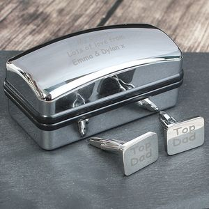 'Top Dad' Cufflinks In Personalised Case