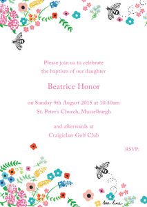 Beatrice's Beeautiful Baby Baptism Invitations - christening invitations