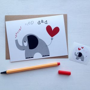 Heart And Elephant 'Special Step Dad' Fathers Day Card