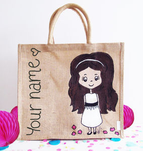 Hand Painted Flower Girl Charm Street Cuties Bag - totes