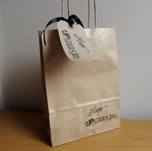 Vintage Happy Fathers Day Gift Bag And Tag : Two Sizes - wrapping