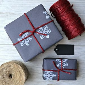 Hand Printed Snowflake Christmas Wrapping Paper - cards & wrap