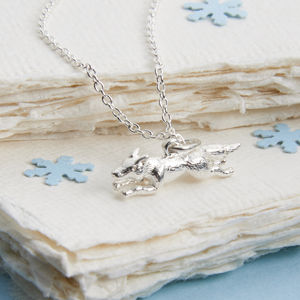 Sterling Silver Running Fox Necklace