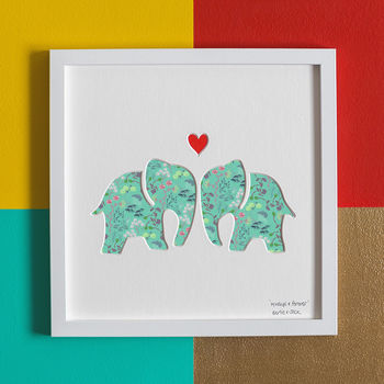 'Always And Forever' Elephants Wedding Gift Artwork