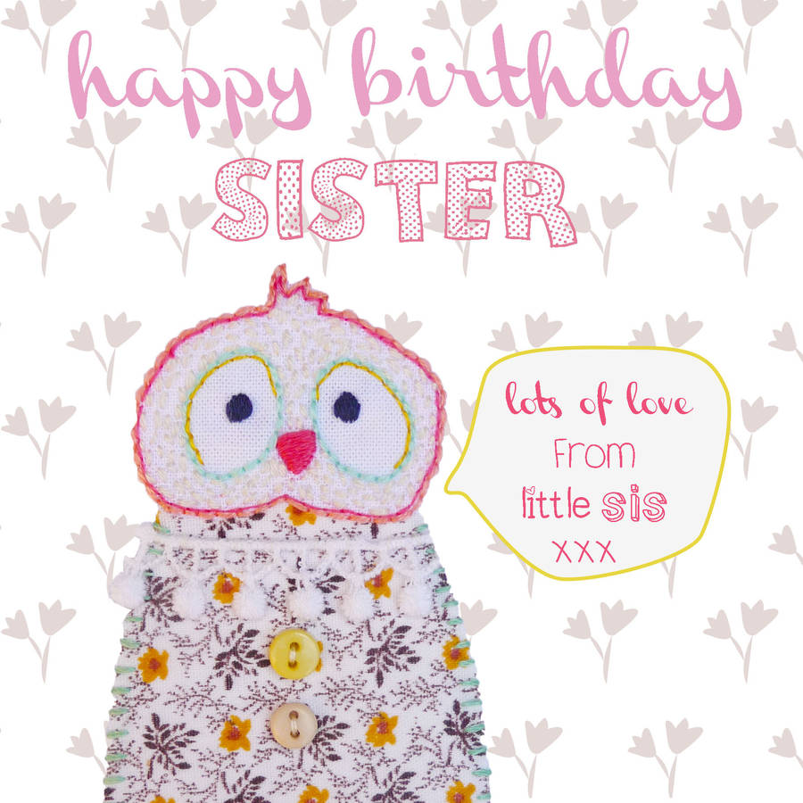 Happy Birthday Sister Greeting Card By Buttongirl Designs