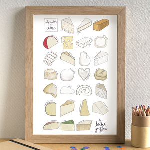 Cheese Alphabet Print - prints under £25