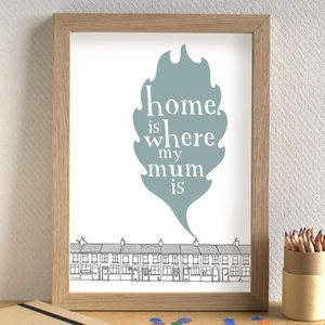'Home Is Where My Mum Is' Print - for mothers