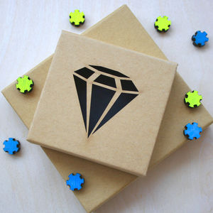 Diamond Cut Out Kraft Gift Box - ribbon & wrap