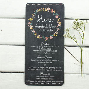 Floral Chalkboard Wedding Menu - chalkboard styling