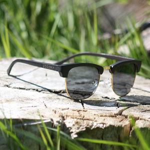 Clubmaster Style Wooden Sunglasses - womens