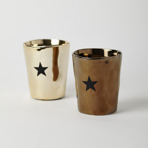 Set Of Two Metallic Star Votives - kitchen