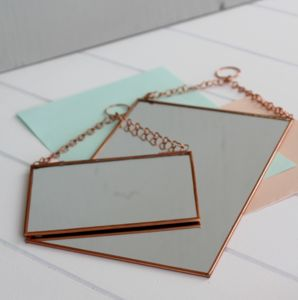 Rectangular Shaped Copper Hanging Mirror - mirrors