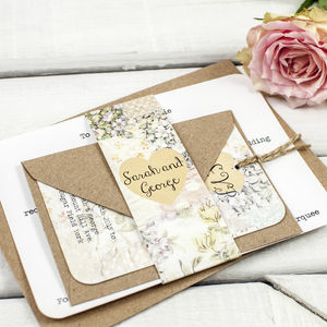 Floral Patchwork Wedding Invitation Bundle - invitations