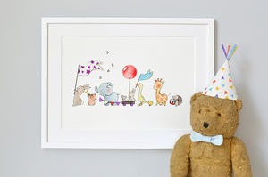 Personalised Animals On Parade Nursery Print