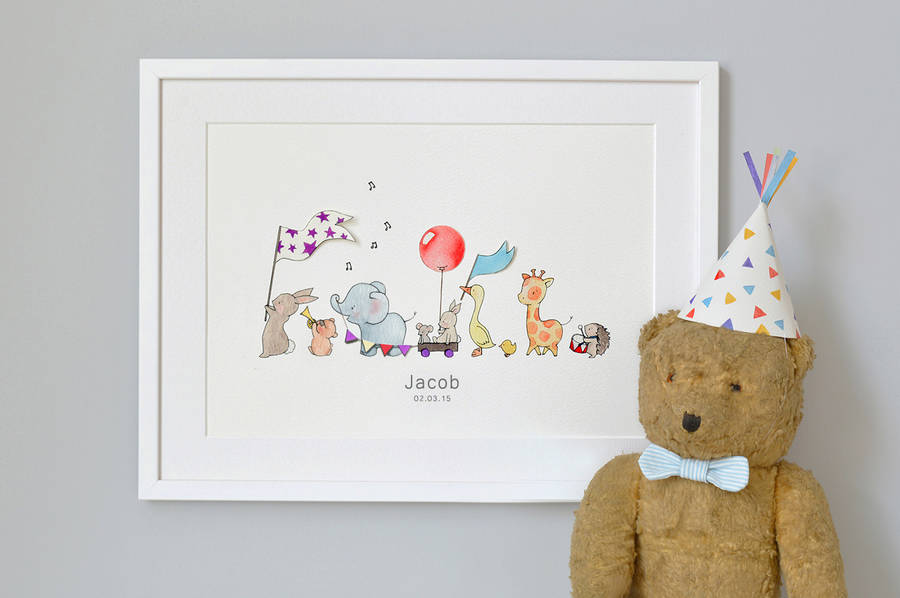 personalised animals on parade nursery print by daisy & bump nursery ...
