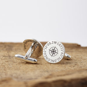 Personalised Silver Coordinates Cufflinks - valentines wish list