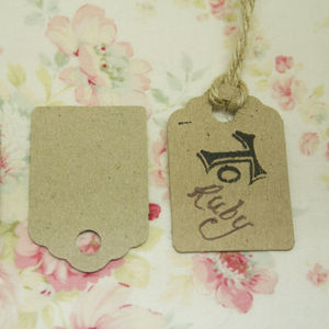 Set Of 24 Small Brown Kraft Luggage Tags - wedding favours