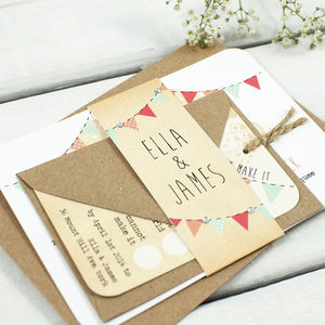 Bunting And Lace Wedding Invitation Bundle - wedding stationery