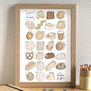 Bread Alphabet Kitchen Art Print Unframed