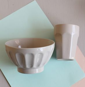 Large Ceramic Light Grey Bowl