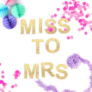 'Miss To Mrs' Hen Party Glitter Garland - hen party styling