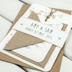 Bunting And Spots Wedding Invitation Bundle - shop by price