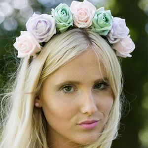 Statement Rose Flower Crown Spring Summer Colours - wedding fashion