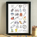 Cycling Alphabet Art Print Unframed
