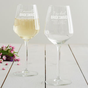 Personalised Bridesmaid Wine Glass - bridesmaid gifts
