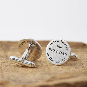 Personalised 'Introducing The Best Dad' Cufflinks
