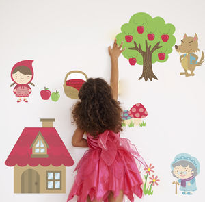 Fairytale Little Red Riding Hood Fabric Wall Sticker - decorative accessories