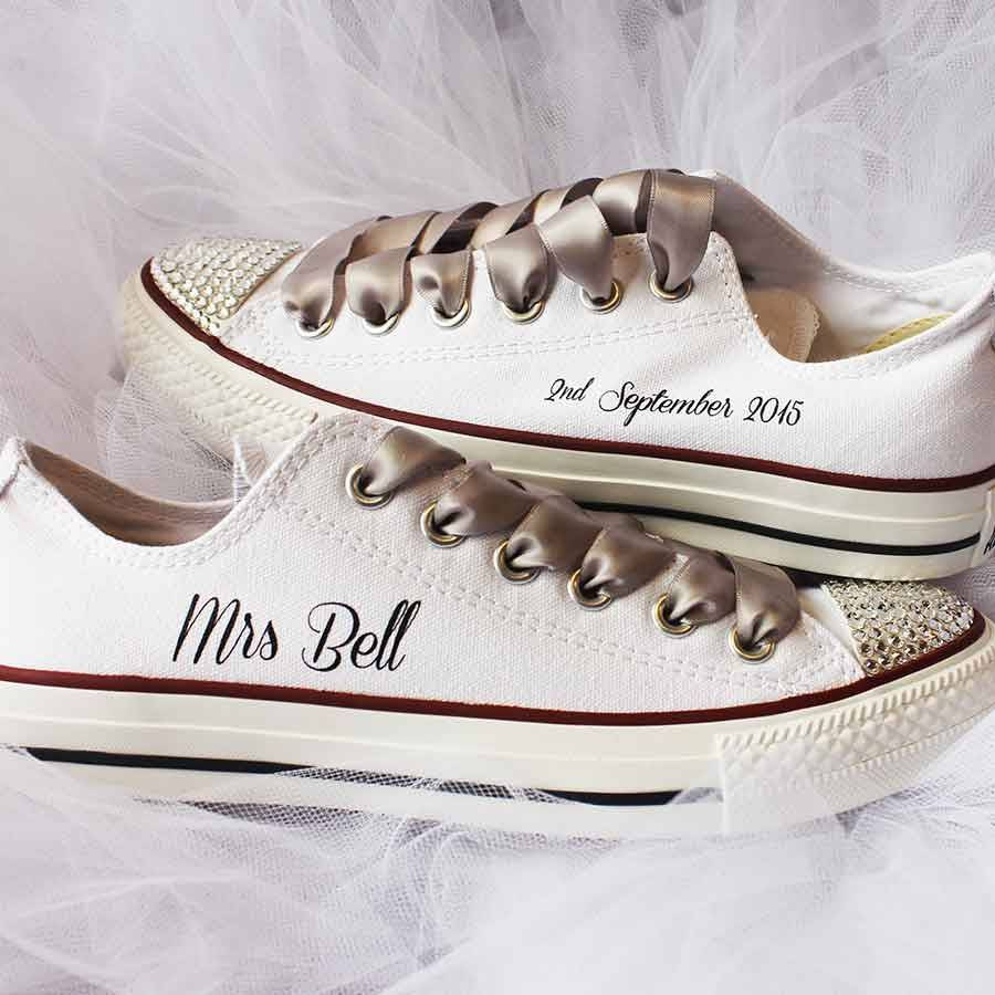bride custom wedding converse by nappy head | notonthehighstreet.com