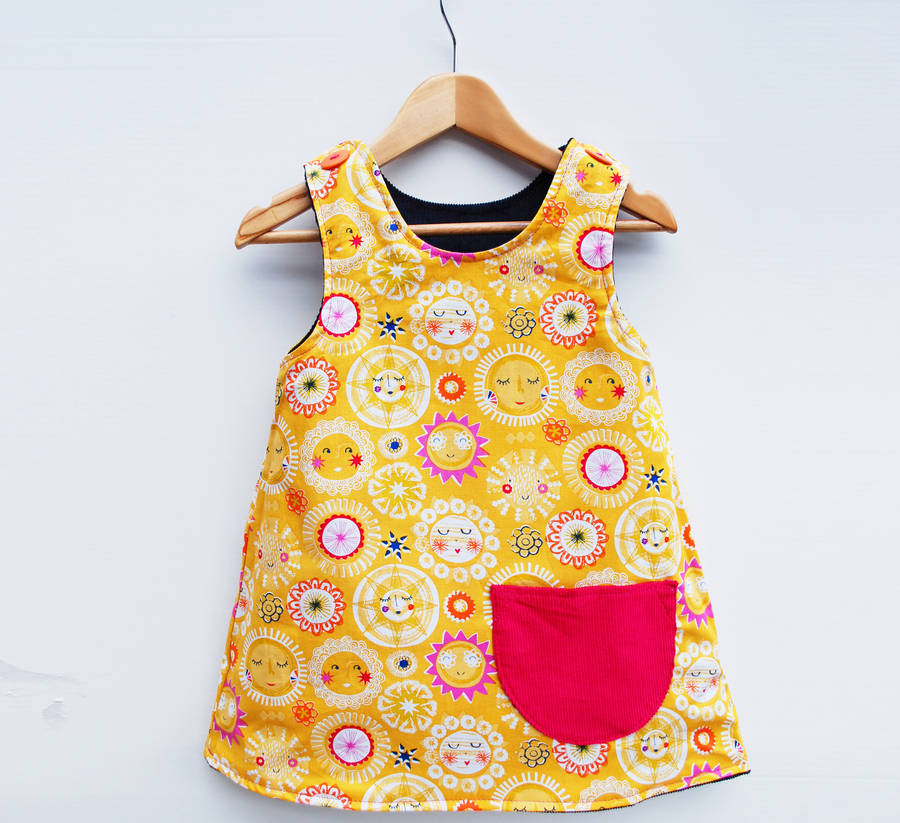 girls sunshine pinafore dress by wild things funky little dresses ...