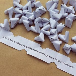 Paper Origami Hearts With Love Quotes - stationery
