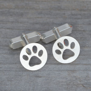 Personalised Hollow Pawprint Cufflinks - cufflinks