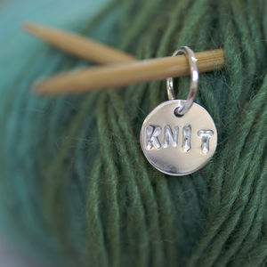 Personalised Silver Round Stitch Marker - creative kits & experiences