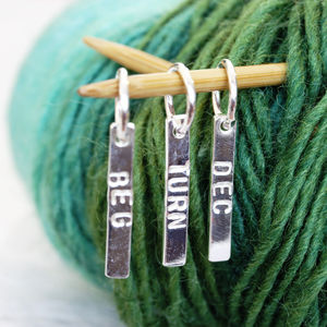 Personalised Silver Long Stitch Marker - knitting kits