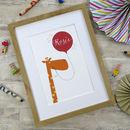 Personalised Fun Giraffe Name Print For Children