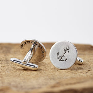Personalised Anchor Hidden Message Silver Cufflinks