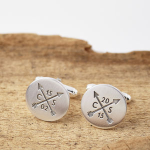 Personalised Silver Arrow Hidden Message Cufflinks - for him