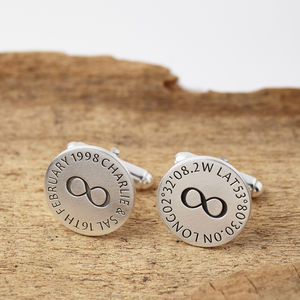 Personalised Silver Inifinity Hidden Message Cufflinks - 25th anniversary: silver