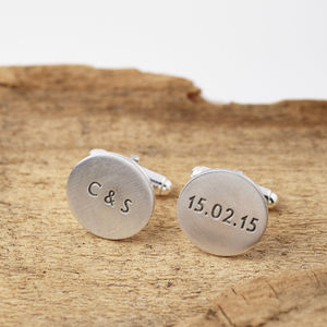 Personalised Round Silver Cufflinks - wedding fashion
