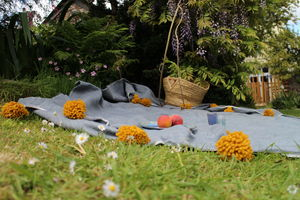 Handmade, Fairtrade Pompom Throw - throws, blankets & fabric