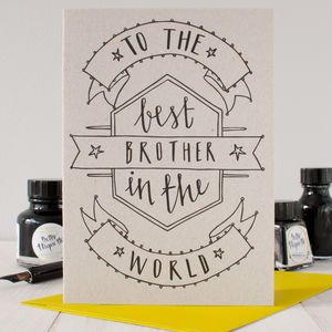 'Best Brother' Birthday Card - general birthday cards