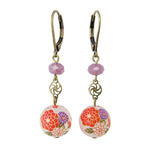 Drop Earrings With Floral Motif