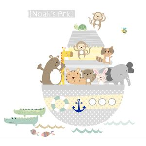 Yellow/ Grey Noah's Ark Fabric Wall Stickers - wall stickers