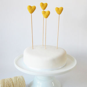 Set Of Four Heart Cake Toppers