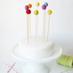 Set Of Eight Rainbow Felt Ball Cake Toppers